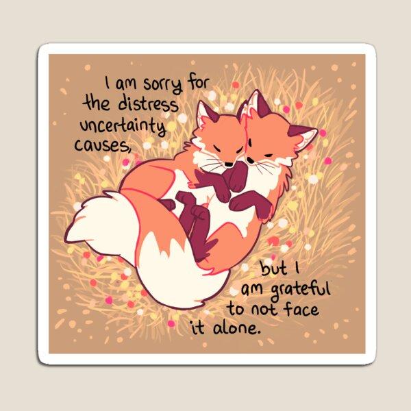 """""""Grateful"""" Fox Flower Cuddles Magnet"""