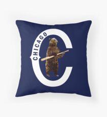 Bear with Bat_white Logo - Polygonal Throw Pillow