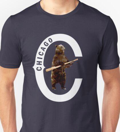 Bear with Bat_white Logo - Polygonal T-Shirt
