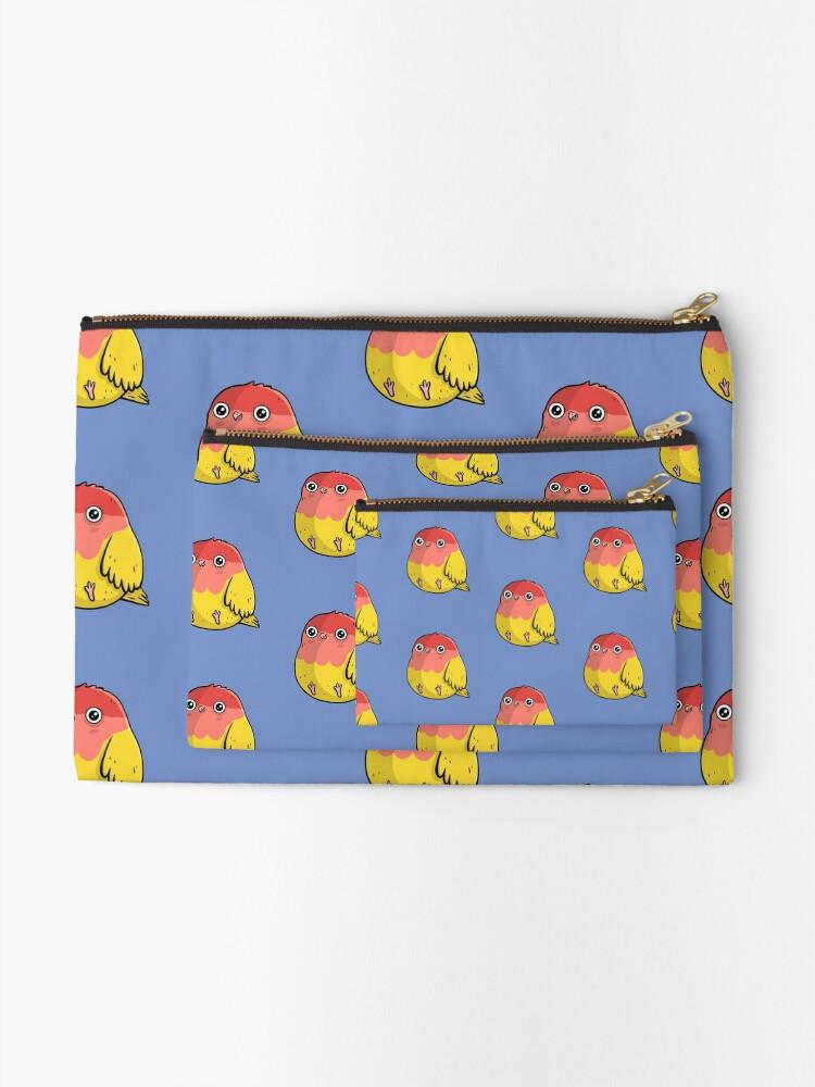 Alternate view of Cute Lutino Lovebird Chubby Bird Design Zipper Pouch