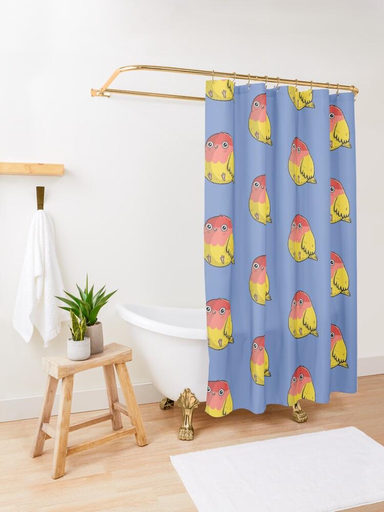 Alternate view of Cute Lutino Lovebird Chubby Bird Design Shower Curtain