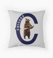 Bear with Bat - Polygonal Throw Pillow