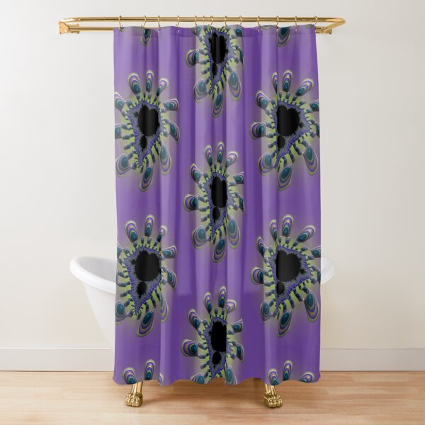 Purple Mandelbrot Bug Fractal Flower Shower Curtain