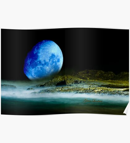 Blue Coastal Moon Poster