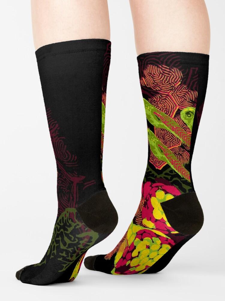 Alternate view of Zebrafish Fluorescent Staining Socks