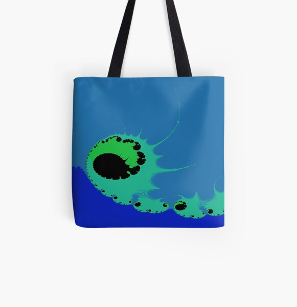 Riding the Neo Mint Fractal Wave Abstract Art All Over Print Tote Bag