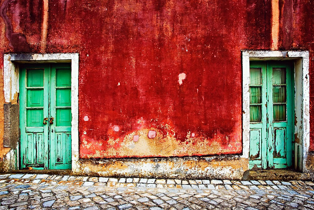 two doors against a red fasad by johnbokeh