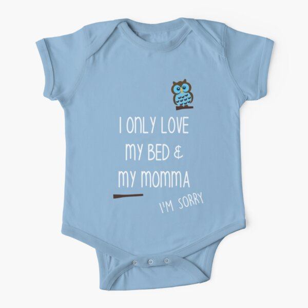 Drake OVO - 'I only love my bed and my momma, i'm sorry,' - God's Plan Rap Lyrics  Short Sleeve Baby One-Piece