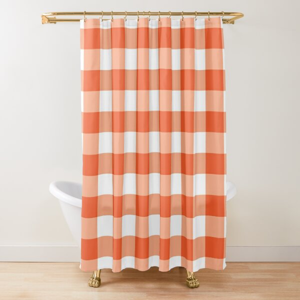 Classic Orange and white Gingham Pattern Shower Curtain