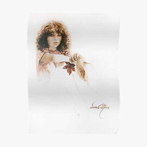 Fille avec feuille d'érable Poster