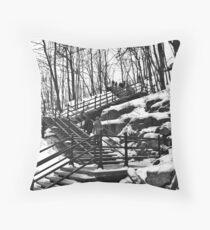 Snowy Steps Throw Pillow