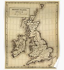 Vintage Map of The British Isles (1850) Poster
