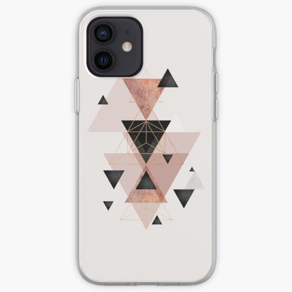 Geometric Triangles in blush and rose gold iPhone Soft Case