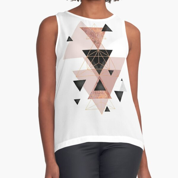 Geometric Triangles in blush and rose gold Sleeveless Top