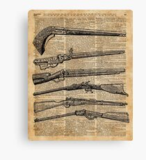 Vintage Weapons Antique Guns Dictionary Art Canvas Print