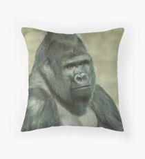 West Lowland Silverback Gorilla Throw Pillow