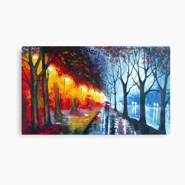 Couple walking in the rain by the water - oil painting Canvas Print