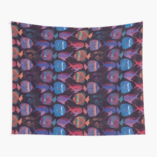 """""""Happy as a fish"""" Fish Pattern Tapestry"""