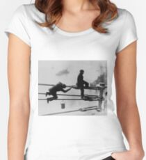 Brooklyn Bridge Painters Vintage Photograph (1915) Fitted Scoop T-Shirt