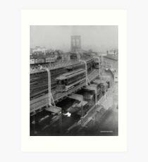 Lámina artística Vintage Brooklyn Bridge Railway Photograph (1910)