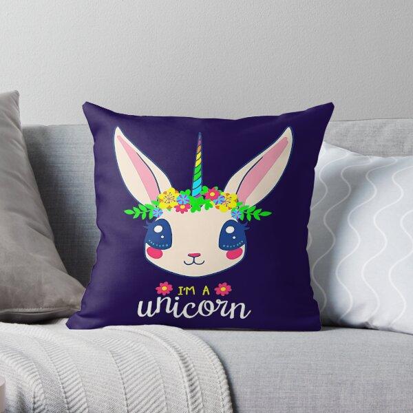 Unicorn Bunny Easter Rabbit Unicorn Throw Pillow