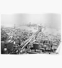 Póster Vintage Brooklyn and Manhattan Bridge Photograph