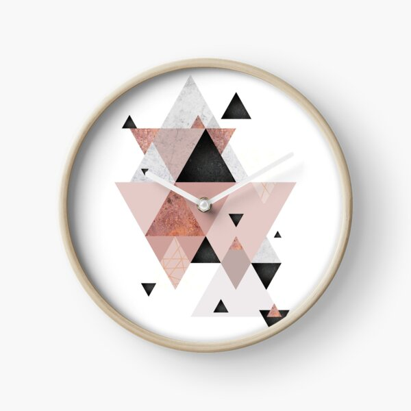 Geometric Compilation in Rose Gold and Blush Pink Clock