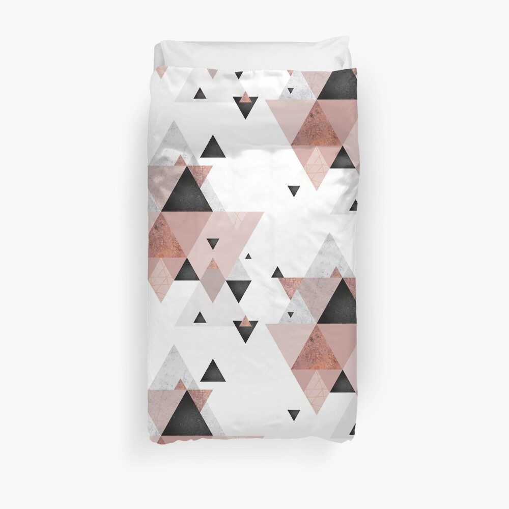 Geometric Compilation in Rose Gold and Blush Pink Duvet Cover