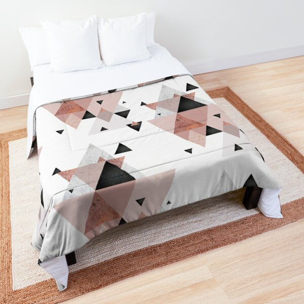 Geometric Compilation in Rose Gold and Blush Pink Comforter