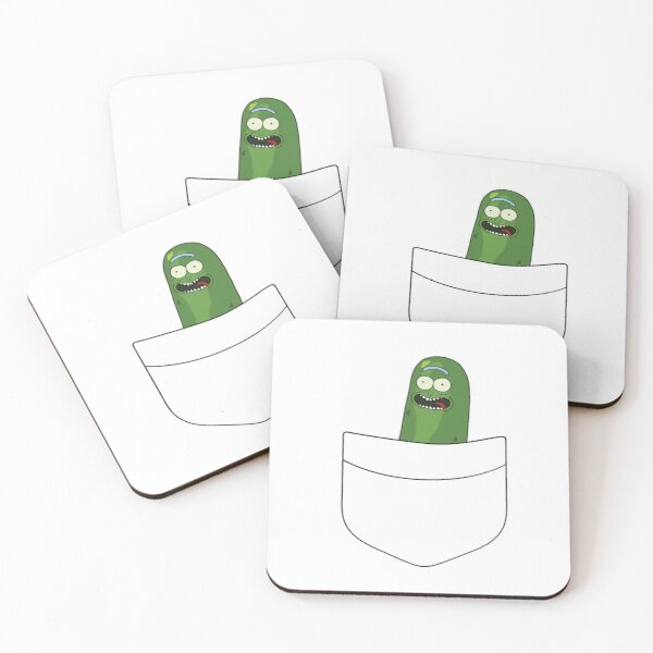 Pickle Rick Pocket Space Coasters (Set of 4)