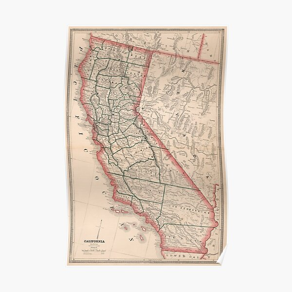 Vintage Map of California (1883) Poster