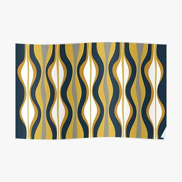 Hourglass Abstract Midcentury Modern Pattern in Mustard Yellow, Navy Blue, Grey, and White Poster