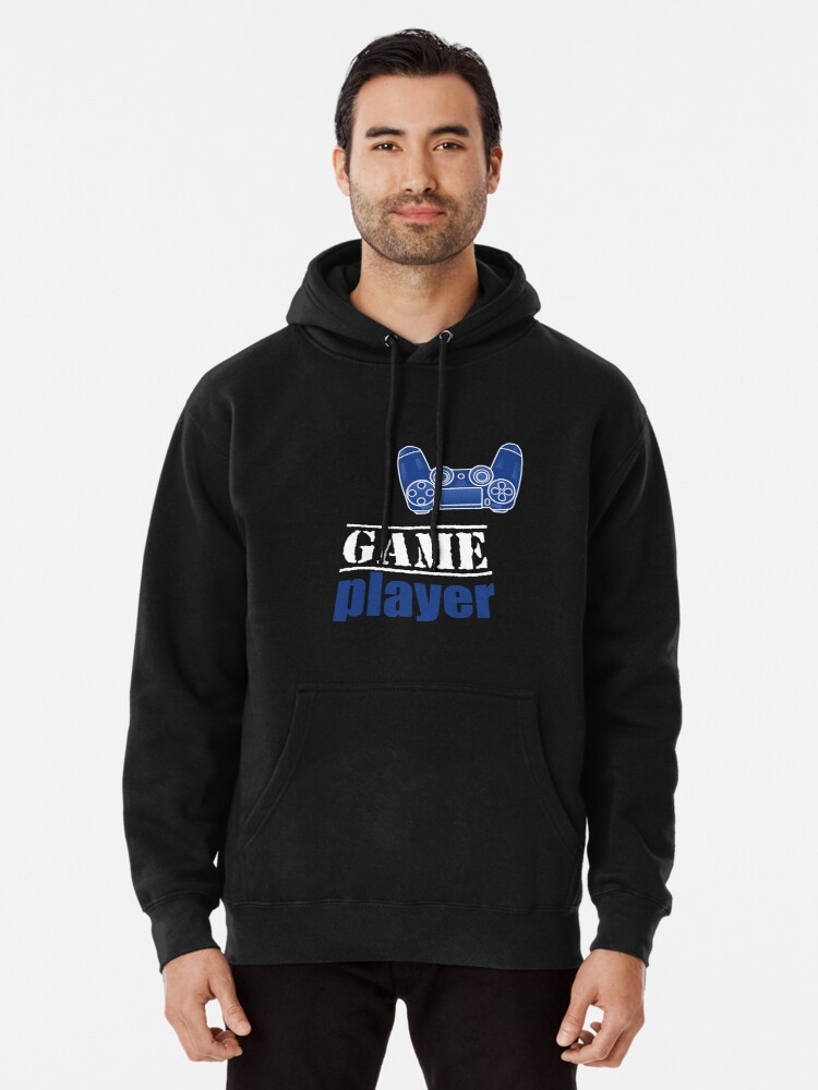 Alternate view of Game Player - Blue design Pullover Hoodie