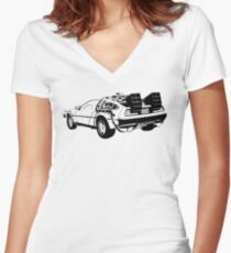 Back to the Future - Delorean Women's Fitted V-Neck T-Shirt