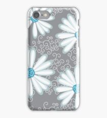 White Silver and Turquoise Floral Daisy Pattern iPhone Case/Skin