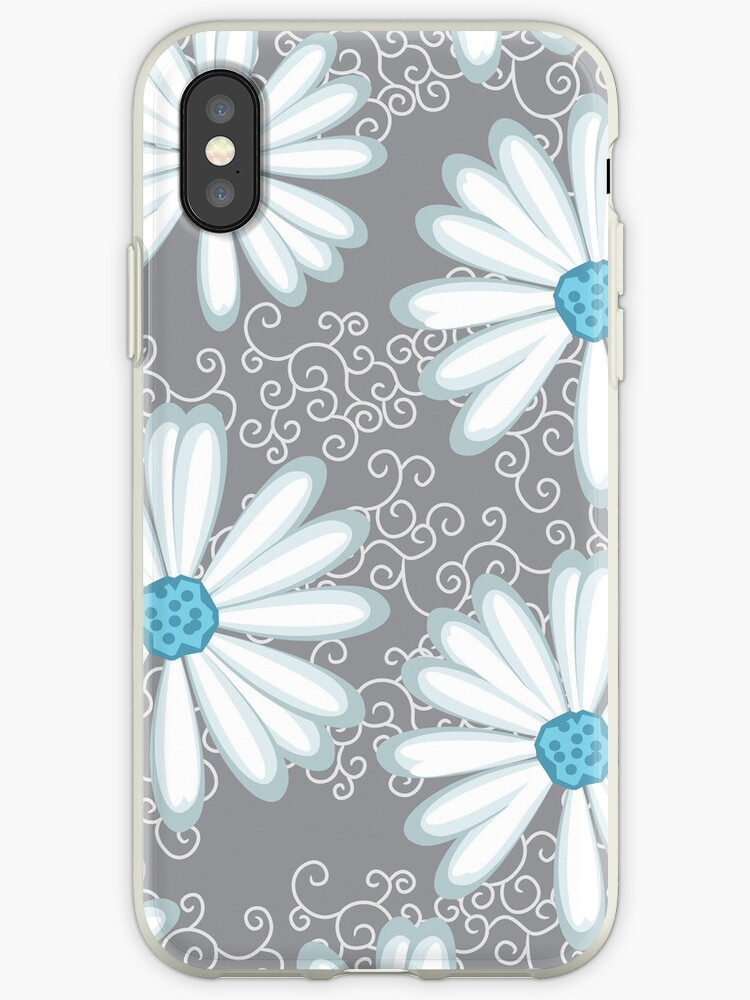 White Silver and Turquoise Floral Daisy Pattern by rozine