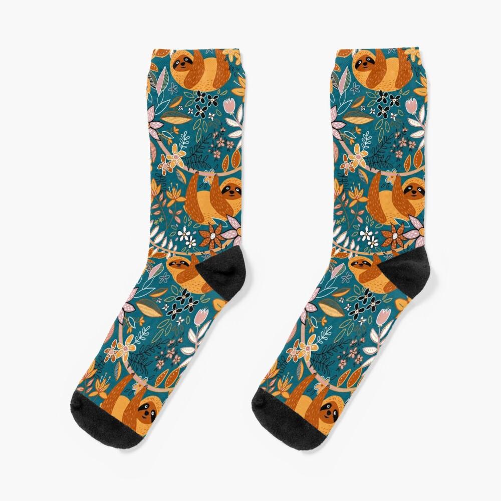 Happy Boho Sloth Floral  Socks