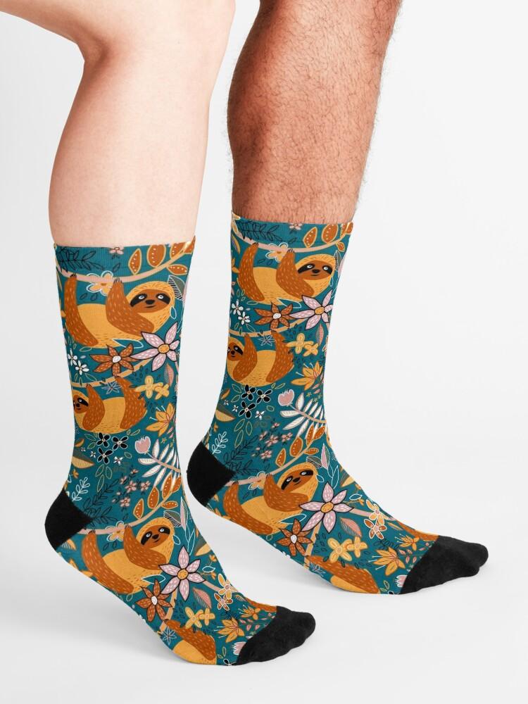 Alternate view of Happy Boho Sloth Floral  Socks