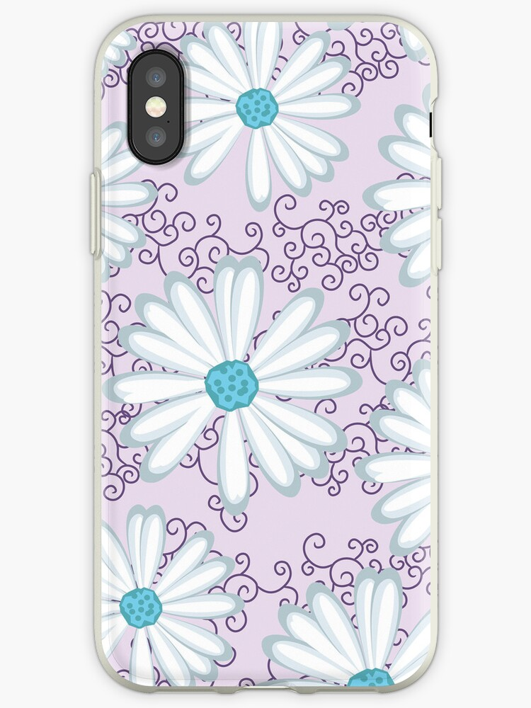 Sweet Lilac and Turquoise Daisy Flower Pattern by rozine