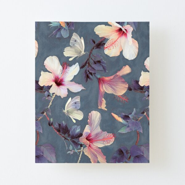Butterflies and Hibiscus Flowers - a painted pattern Canvas Mounted Print
