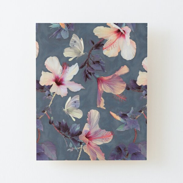 Butterflies and Hibiscus Flowers - a painted pattern Wood Mounted Print