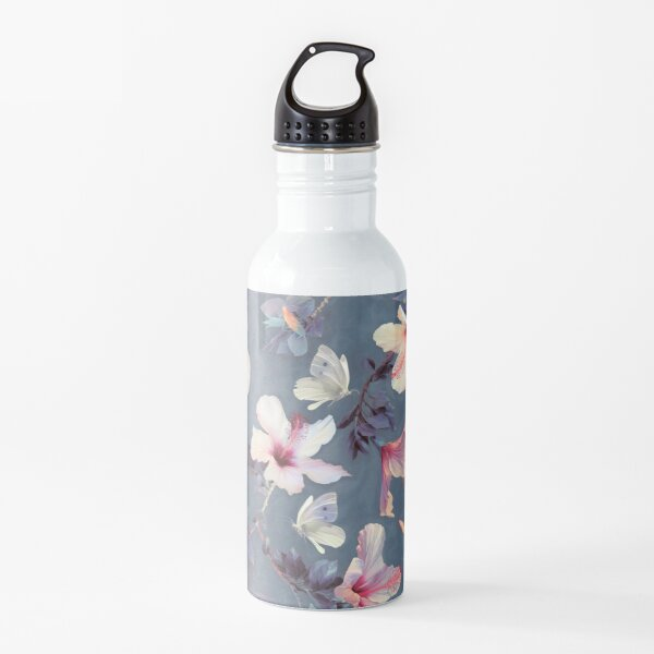 Butterflies and Hibiscus Flowers - a painted pattern Water Bottle