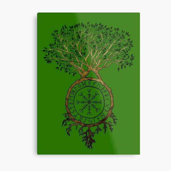 Viking Tree of Life with Aegishjalmur - v1 Metal Print