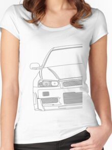 R34 outline - black Women's Fitted Scoop T-Shirt