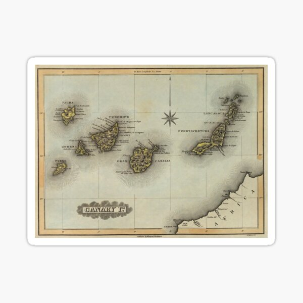 Vintage Map of The Canary Islands (1823) Sticker