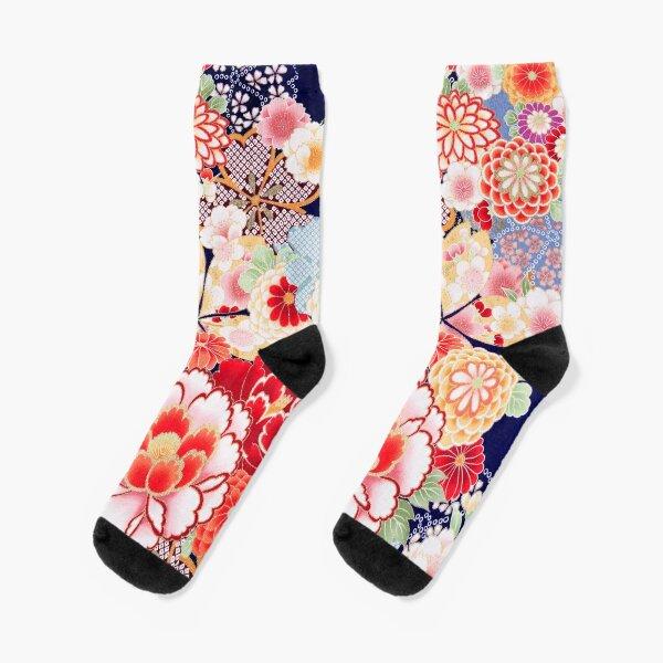 ANTIQUE JAPANESE FLOWERS Pink White Wild Roses Kimono Style Floral Socks