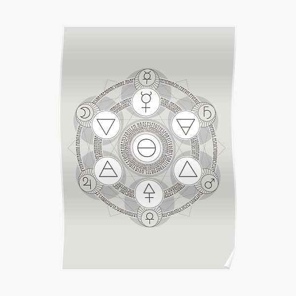 Emerald Tablet alchemy circle white Poster
