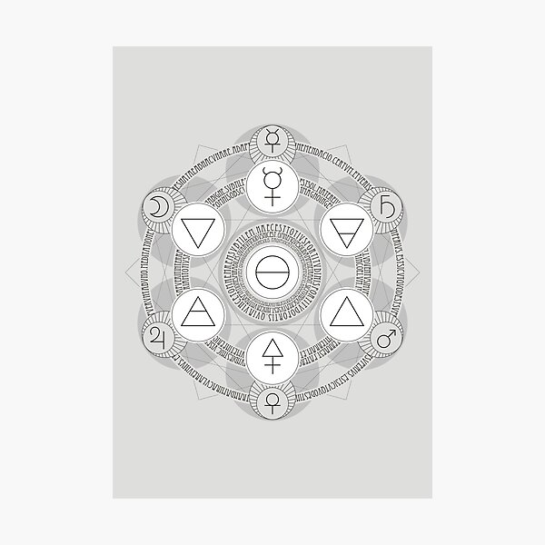Emerald Tablet alchemy circle white Photographic Print