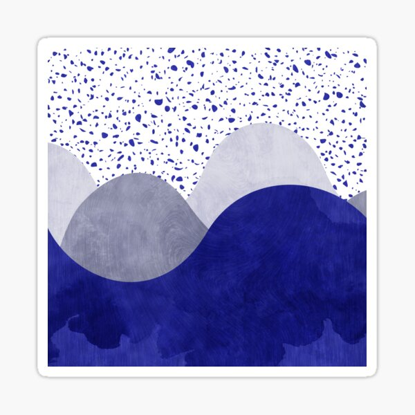 Terrazzo galaxie vague bleu gris blanc Sticker