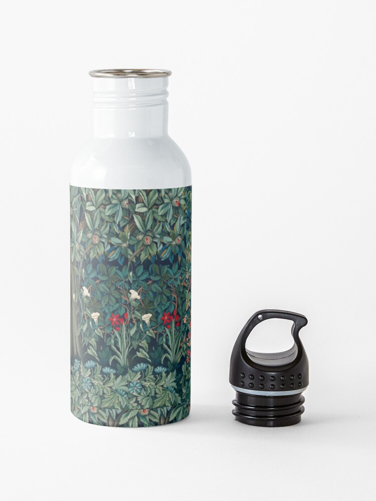 Alternate view of GREENERY, FOREST ANIMALS Fox and Hares Blue Green Floral Tapestry Water Bottle